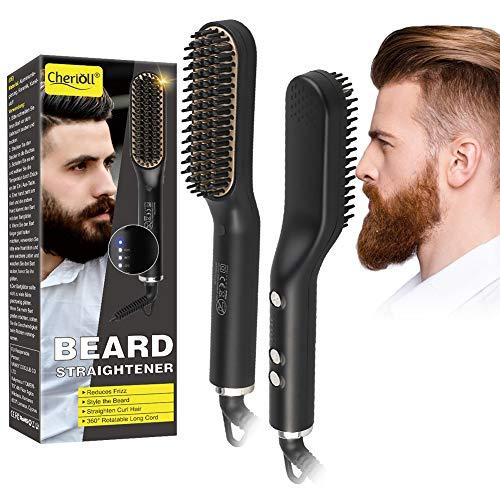 Barba Cepillo Alisador de Pelo, Profesional Eléctrico Multifuncional Anti-escaldado Beard Straightener, Plancha...