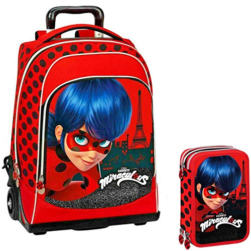 Miraculous Lady Bug Schoolpack Zaino Trolley + Astuccio 3 zip completo di cancelleria - scuola 2019-20