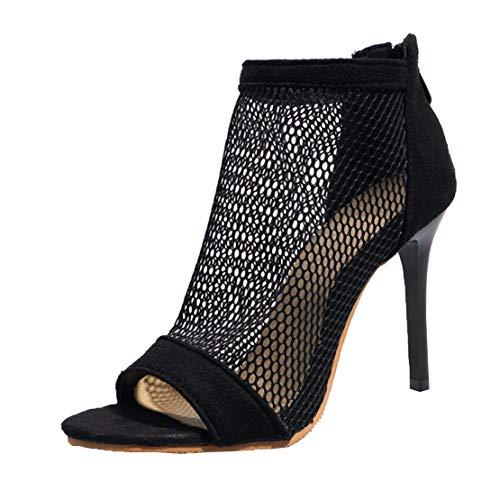 MISSUIT Damen Stiletto High Heels Sandaletten Sommer Stiefeletten mit 10cm Absatz Lochmuster Mesh Sandalen Reißverschluss(Schwarz,41)