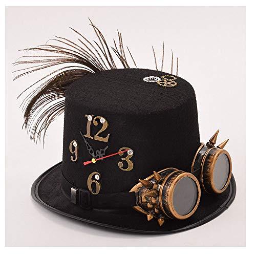LHZUS Sombreros para hombre y mujer, estilo steampunk, sombrero negro punk, gafas de engranaje reloj decorativo gorra steampunk top sombrero disfraz (color: 1, tamaño: 57 cm)