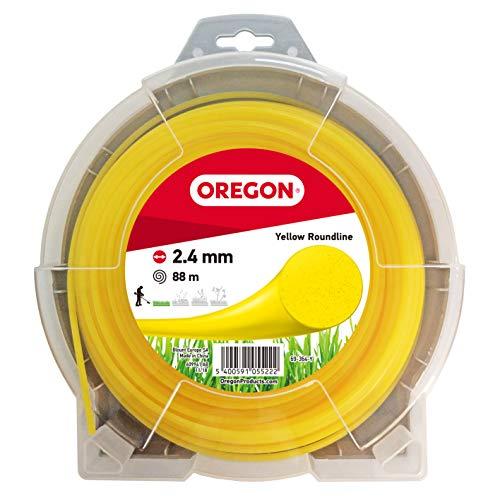 Oregon 69-364-Y Hilo de cortacésped Redondo Amarillo para cortadoras de césped y desbrozadora, 2,4 mm x 88 m, 2.4mm x 88m