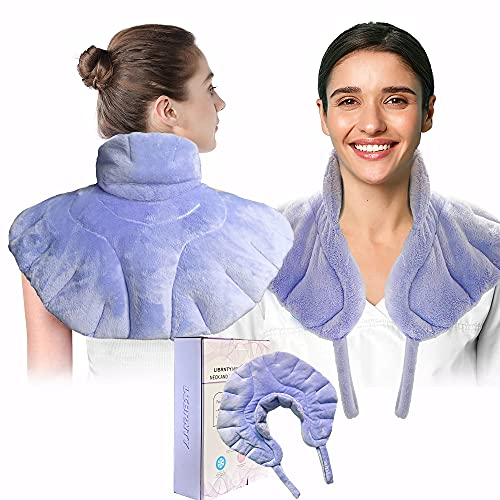 LIBRNTY Almohadilla cervical/almohadilla cervical termica-Aumente el diseño del mango en ambos lados,almohada para el cuello calentable apta para microondas para aliviar el dolor