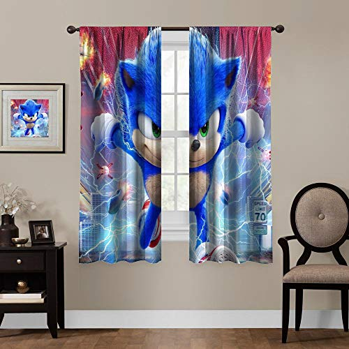 Allbrit Blackout Draperies for Bedroom, Sonic The Hedgehog 2020 Movie, Thermal Insulating Blackout Curtain 72x63 Inch
