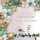 gresahom kit de 102 arches de ballons en latex vert rétro avec ballons dorés métalliques pour