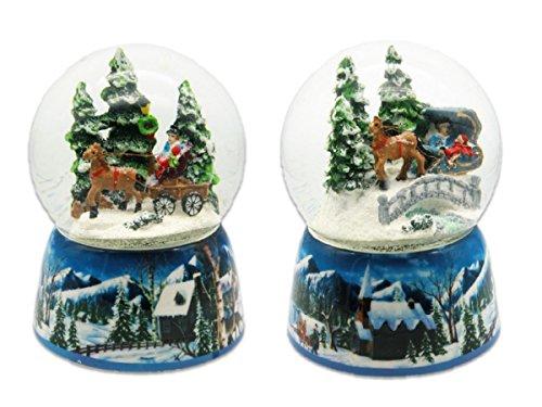 Geschenkestadl Spieluhr Schneekugel mit Bewegung Ø 10 cm x 15 cm Winterland