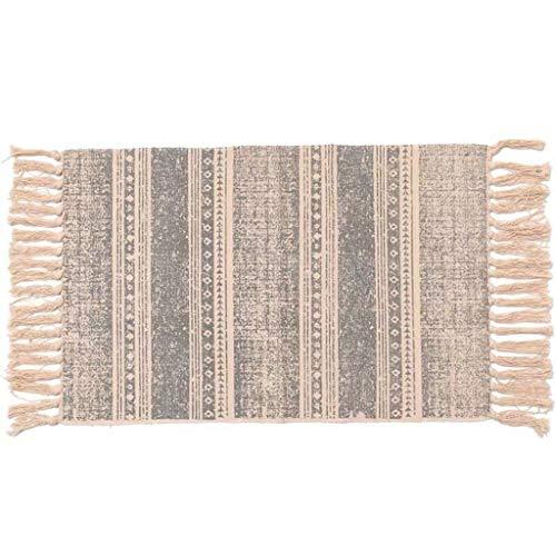 Higlles Läufer Teppich Vintage Baumwolle und Leinen Natur Handwebteppich 90x60 cm Böhmen Haushalt Schlafzimmer rutschfeste Matte Fußmatte