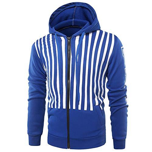 JFX Camisa con Capucha a Rayas Cardigan de Poliéster Cardigan Slim Sports Suéter Casual Chaqueta Capucha con Cordón/C/M