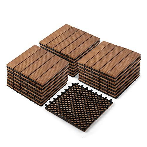 """Partuys Flooring Hardwood Deck Ourdoor Patio Solid Wood Tile Flooring, Interlocking Wood Composite for Outdoor & Indoor, Stripe Pattern 12 x 12""""-22 PCS"""