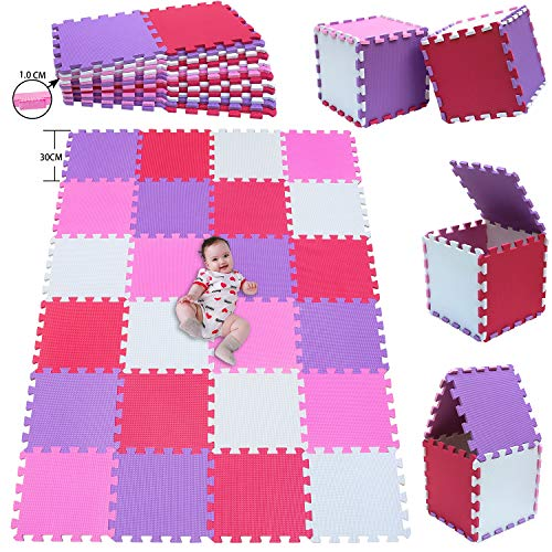 MSHEN 24 Piezas Alfombra Puzzle Bebe con Certificado CE y certificación EVA | Puzzle Suelo Bebe | Puede ser Lavado Goma eva,Tamaño 1.93cuadrado,blanco-rosa-rojo-púrpura-01030911g24