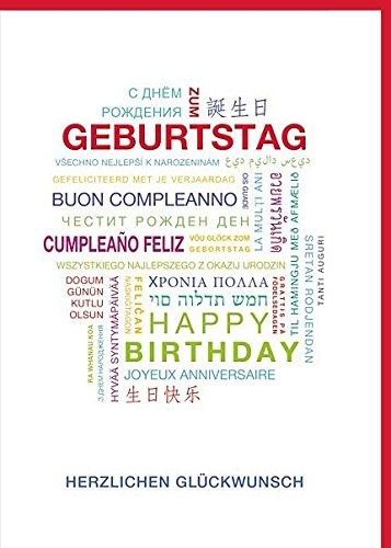 A4 XXL Geburtstagskarte Schrift bunt international mehrsprachig