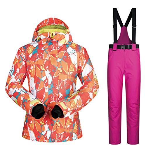Zlw-shop Schneeanzüge Skianzug Winterbekleidung Damen Winter Ski-Jacke und Hose Set wasserdicht Winddicht Snowboard-Bunte gedrucktes Ski-Jacke und Hose Skianzug (Color : Red, Größe : S)