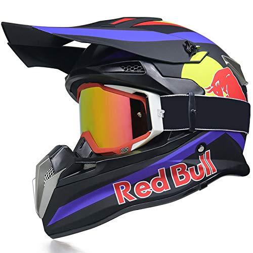 STRTG Motocicleta Motocross Casco Integral, Casco MTB para Adultos Carcasa de ABS...