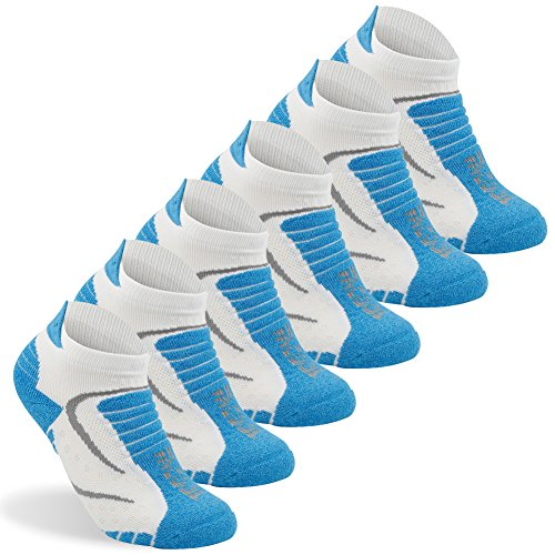 Women's Mini-crew Socks Facool Woman Comfort Seamless Toe Sports Heel Tab Cushioned Atheltic Running Climbing Hiking Socks,One Size,6 Pairs Blue&white
