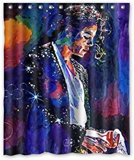 Custom Michael Jackson Fabric Waterproof Bathroom Bath Shower Curtains Sets with Hooks 72 X 72 Inch