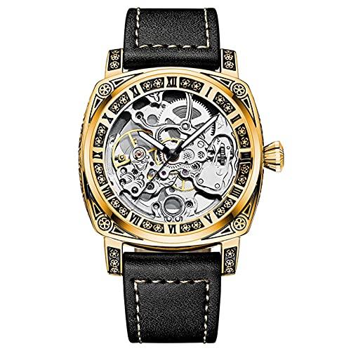 JTTM Relojes Analógicos Automáticos Mecánicos Relojes De Esqueleto Hombres Reloj con Correa De Cuero Relojes De Pulsera Impermeables para Hombres De Negocios Hombres,Oro