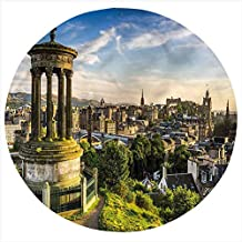 Cityscape Flannel Throw Blanket,Edinburgh Aerial View Bed Throws Novelty Gifts for Him/Her, Pets, Travelers, Officers, Lovers, Friends, Round 70 Inches