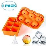 Wanap FT004 Bolas de Hielo Bandeja para Cubitos de Hielo Moldes de Silicona sin BPA, Naranja