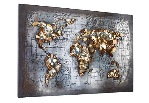Kobolo Wandbild Wanddeko Metallbild 3D-Bild - World - Metall - grau Gold - 108x72 cm