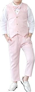 YUFAN Boys Plaid Suits Vest & Pants & Shirt 3 Pieces Single Notch Lapel Asymmetric Design