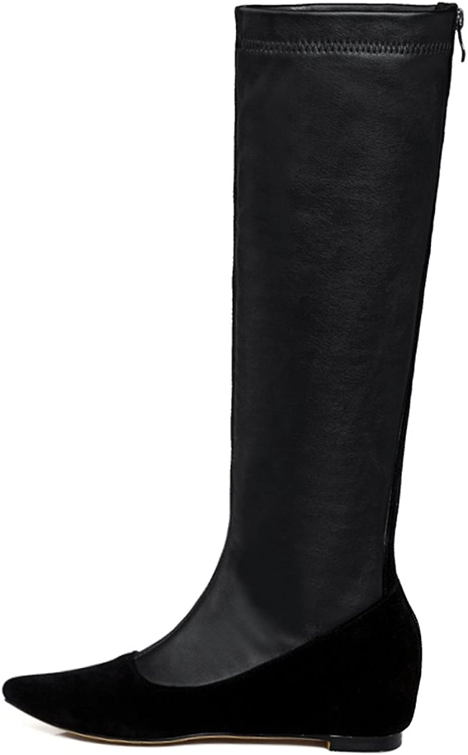 AIWEIYi Womens Pointed toe Stretch Faux Suede Wedges Knee High Boots Fur Warm Thigh High Boots Black