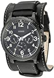 GUESS Black Genuine Leather Chrono-Look Cuff Watch with Day, Date, 24 Hour Military/Int'l Time + Removeable Cuff Strap. Color: Black (Model: U1162G2)