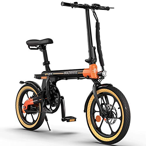 Macwheel 16' Electric Folding Bike LNE-16, 250W Electric Commuter Bicycle, 15.5mph Adults E-Bike with 7.5Ah Battery & Dual Disc Brakes, City Electric Bike for People Aged 14 to 65