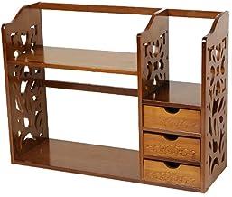 Strong Carrying Capacity With drawers Bamboo Bookshelf, Brown Desktop organizer 2-tier Mini desk Vintage Adjustable shelf ...