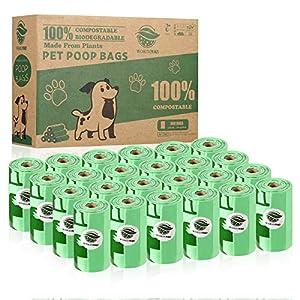 WORDKEN 30% Más Grueso 100% Compostajes Caca Perro 360 Bolsas Pare Excrementos Perros,Hechos de Almidón de Maíz, con Certificación Europea EN13432 &Home Compost