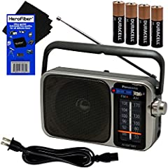This kit includes: Panasonic Portable AM/FM Radio, 4 AA Batteries, AC Power Cable, HeroFiber Ultra Gentle Cleaning Cloth & Owner's Manual GREAT TO USE around in the house, out in the yard or shed, playing in the field, going camping, or during Emerge...