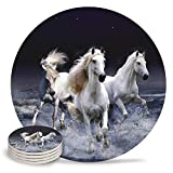 JOOCAR Galloping White Horse Coasters Round Drinks Absorbent Stone Coaster with Ceramic Stone and Cork Base for Kinds of Mugs and Cups (6 are in a Set)