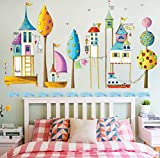 Cute children's paradise water building etiqueta de la pared ciudad europea barco de vapor velero wallpaper decoración de la habitación de los niños stave decal pvc 130 * 80cm