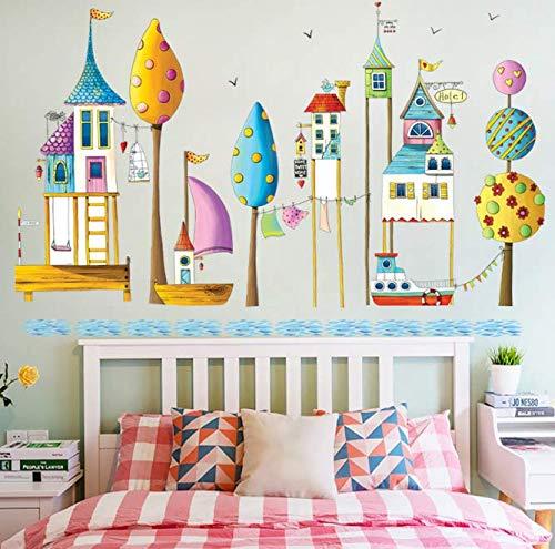 Cute Children's Paradise Water Building Etiqueta de la pared Ciudad europea Barco de vapor Velero Wallpaper Decoración de la habitación de los niños Stave Decal Pvc 130 * 80Cm