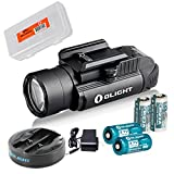 OLIGHT PL-2 PL2 Valkyrie 1200 Lumen Rail Mounted Pistol Light Charging Bundle w/ 2X CR123A Batteries, 2X RCR123 Rechargeable Batteries & Omni-Dok-II Charger & LumenTac Battery Organizer