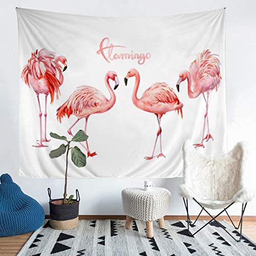 Tbrand Flamingo Wall Hanging Tropical Flamingoes Pattern Tapestry Chic Pink Animal Wall Blanket for Girls Children Teens Bedroom Decor Bird Print Wall Art XLarge 69x91