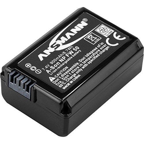 ANSMANN Kamera Akku NP FW 50 Li-Ion 7,4V 900mAh - ideal für Sony Alpha 7, 7 II, 7R, 7S, 7S II, 5000, 5100, 6000, 6300, 6500 / NEX 5, 6, 7 / DSC RX10, RX10 II, RX10 III / A7, A7 II, A7S, A7R uvm.