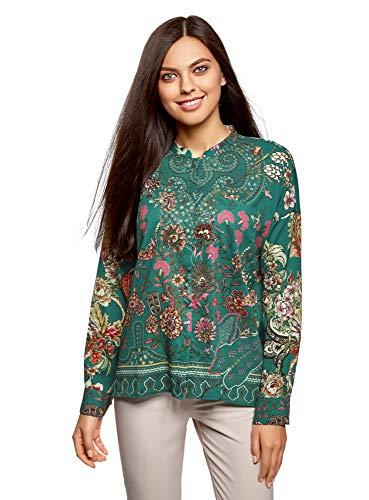 oodji Collection Mujer Blusa Ancha con Estampado Floral, Verde, ES 36 / XS