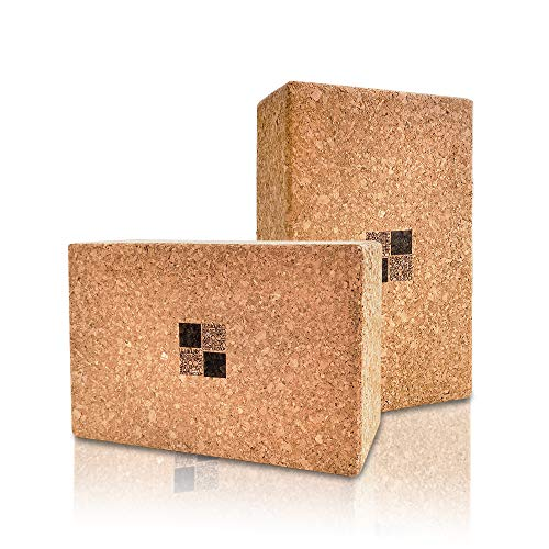 MK MEN KAI Blocchi Yoga Sughero,Blocchi di Sughero per Yoga e Pilates,Blocco Yoga, Yoga Cork Block, 2PC,Antiscivolo e sostenibile [22.3 x 14.3 x 7,2 cm]