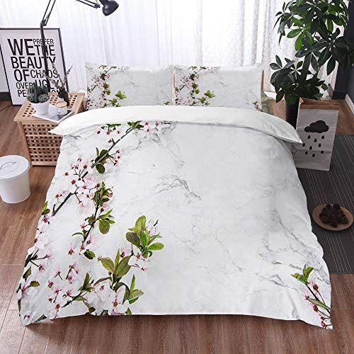 Mingdao bedding - Duvet Cover Set, Spring Twigs of Cherry Blossom on a Marble Table,Microfibre Duvet Cover Set 240 x 260 cmwith 2 Pillowcase 50 X 80cm