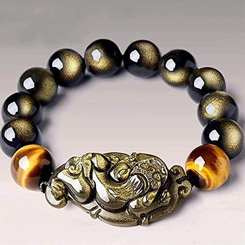 Pulsera de la riqueza Feng Shui Feng shui pulsera de riqueza negra arco iris ojos pixiu pulsera budista perlas para la buena fortuna valiente afortunada y riqueza, Puede traer suerte y prosperidad