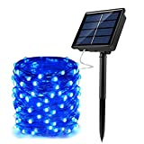 JosMega Upgraded Solar Powered String Fairy Lights 1 Pack 72 ft 200 LED 8 Modes Waterproof IP65 Twinkle Lighting Indoor Outdoor Fairy Firefly Lights Auto ON/Off (1 Pack 72 ft 200 LED, Blue)