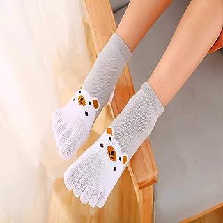 ZHANGNUO, Calcetines De Algodón para Niños Calcetines De Dibujos Animados Calcetines De Cinco Dedos Algodón Fino De Primavera Y Verano