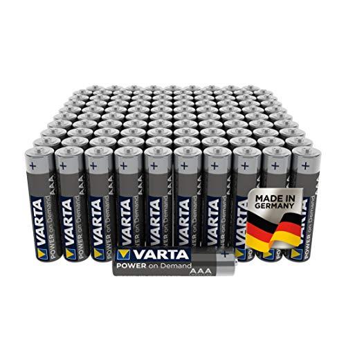 VARTA Power on Demand AAA Micro Batterien (100er Pack Vorratspack in umweltschonender Verpackung - smart, flexibel und leistungsstark - z.B. für Computerzubehör, Smart Home Geräten oder Taschenlampen)