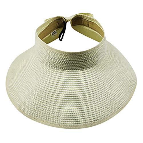 Riou Damen Sonnenhut Sommer am Strand oder im Urlaub Sonnenhüte Faltbarer Strohhutmit mit Breite Krempe Hüte Visoren