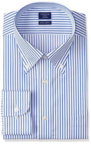 [チョーヤ] CHOYA SHIRT FACTORY 長袖メンズワイシャツ 日清紡アポロコット CFD336 455-青ボタンダウン 日本 42-78 (日本サイズL相当)