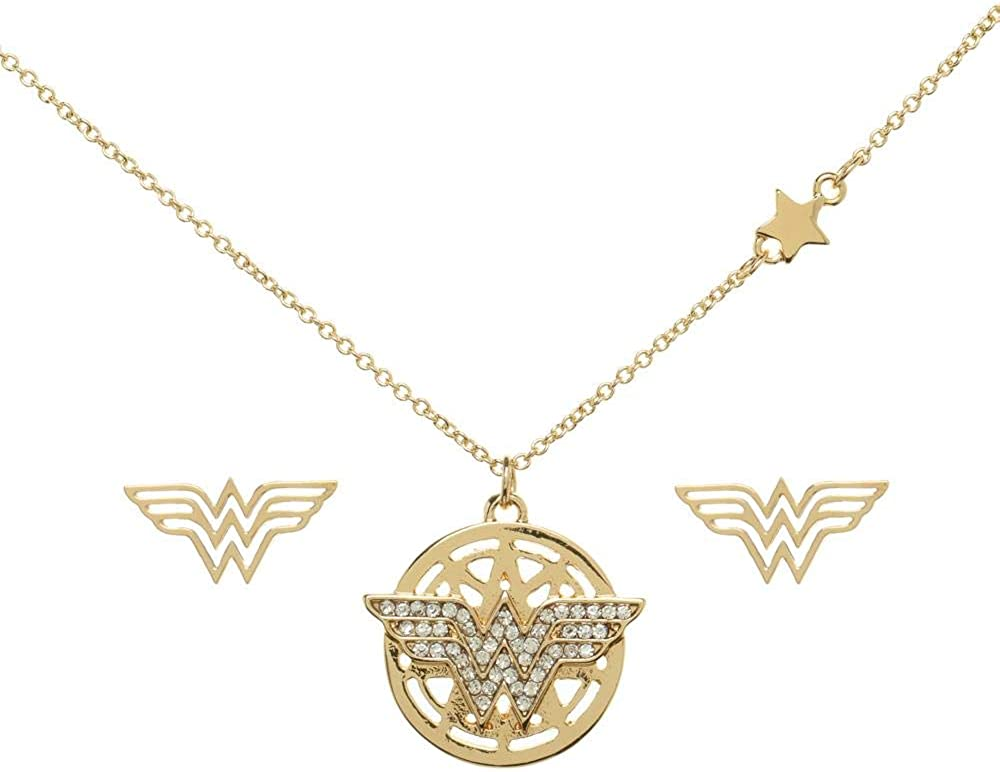 Bioworld Wonder Woman Jewelry Set Charm Necklace with Compact Mirror