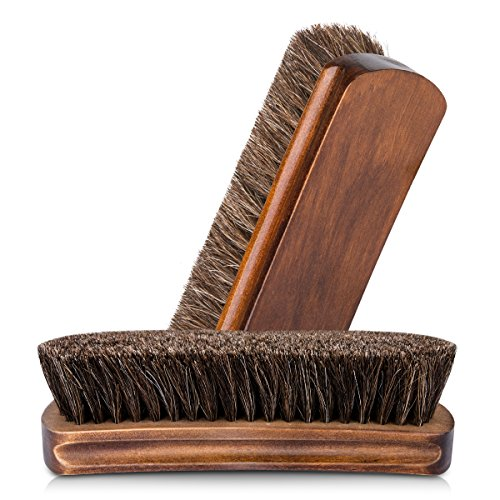 Foloda Schuhbürste Glanzbürsten Rosshaarbürste Ideal für Reinigen oder Polieren alle Lederschuhe (Braun 2pcs)