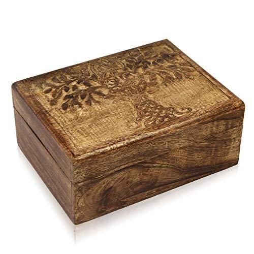 Birthday Gift Ideas Handmade Decorative Wooden Jewelry Box With Tree Of Life Carvings Jewelry Organizer Keepsake Box Treasure Chest Trinket Holder Memory Box Watch Box 9 x 6 Inch Anniversary Gifts