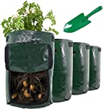 VDN 4 Pack 10 Gallon Potato Grow Bag Set | Garden Plant Bags for Various Vegetables Made in Green Polyethylene Complete with 1 Planting Shovel