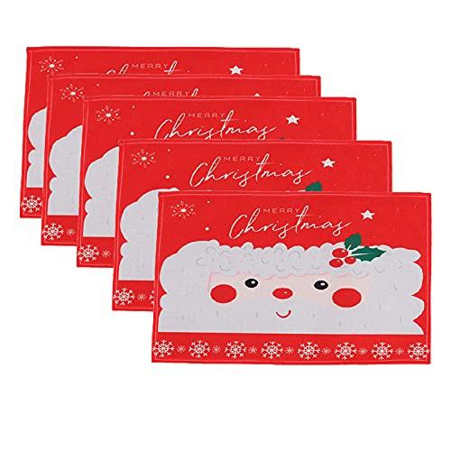 Moiitee 5 manteles individuales de Navidad, decoración creativa de vacaciones, aislamiento térmico...