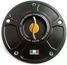 TWM Quick Action CNC Billet Fuel Gas Cap with Gold Handle fits Kawasaki ER6 ZX6R ZX10R Z750 Z1000 R SX